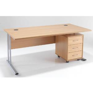 BIMI Oak Rectangular Desk with 3 Draw Mobile Pedestal - Desk 1800 x 800