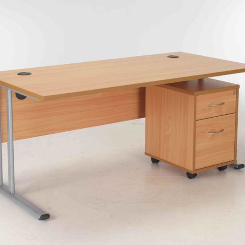 BIMI Oak Rectangular Desk with 2 Draw Mobile Pedestal - Desk 1200 x 800
