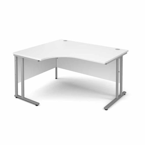 White 1400mm Left Hand Ergonomic Corner Desk-0