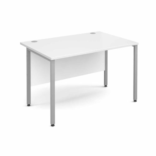 H Frame 1200mm Deep Straight WHITE Ergonomic Office Desk-0